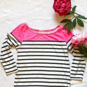 Jcrew Hot Pink Striped Boatneck Tee